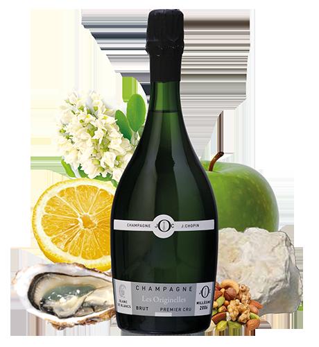Champagne Blanc de blancs premier cru millésimé Brut Champagne Julien Chopin à Monthelon près d'Épernay