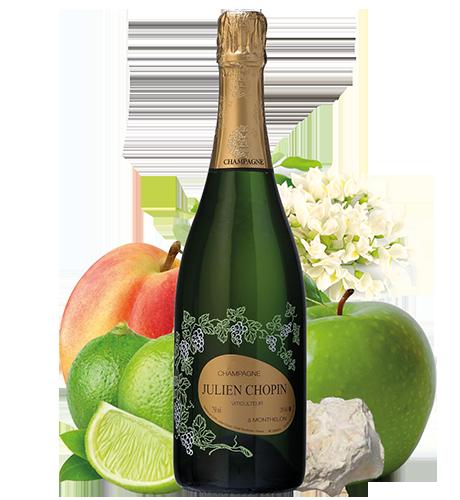 Champagne Carte d'Or Brut produit à Monthelon dans la Marne par le Champagne Julien Chopin