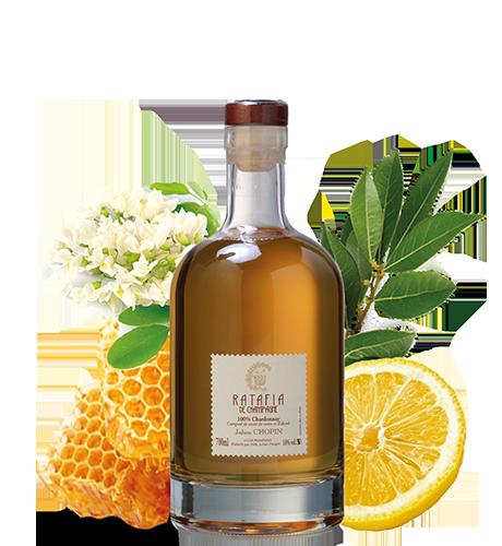Ratafia champenois Julien Chopin chardonnay aux arômes de miel produit à Monthelon dans la marne