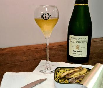 Mai recette du mois Champagne Julien Chopin à Monthelon Sardine chermoula et champagne carte noire brute nature